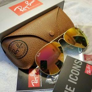 c4511600b5 Ray-Ban Aviator Sunglasses Pink Gold 58mm NEW
